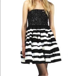 Alice + Olivia Dresses - {Alice + Olivia} Black & White Sequin Ribbon Dress